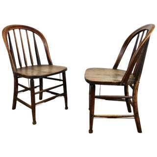 Early Oak Antique Industrial Side Chairs by Heywood Wakefield - A Pair For Sale