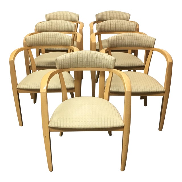 Mid-Century Light Maple Lowenstein Dining Chairs - Set of 7 For Sale