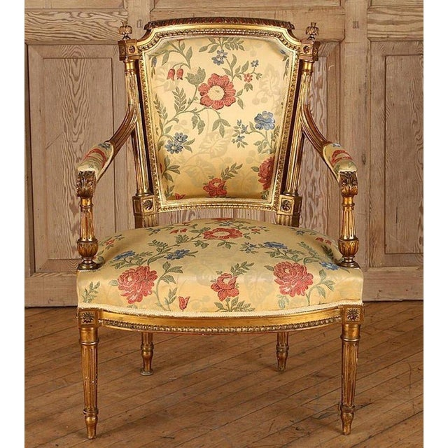 Red French Gilt Wood Louis XVI Style Settee & Arm Chairs - Set of 5 For Sale - Image 8 of 13