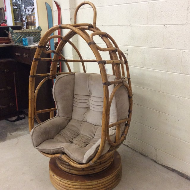 Boho Chic Groovy 70s Bamboo Egg Swivel Chair For Sale - Image 3 of 12