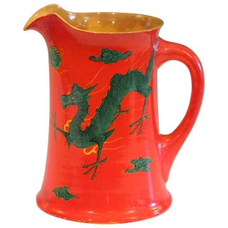 Antique Awaji Pottery Chrome Red Dragon Pitcher Vase Japanese Studio Signed For Sale