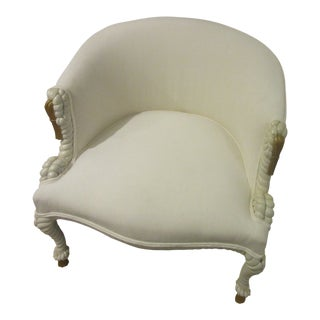 1960s Vintage Highly Carved Off White Chenille Rope Chair