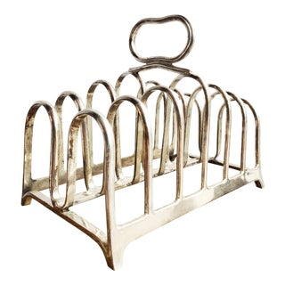 1920s Antique Christofle Silver Plated Toast Rack For Sale