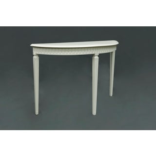 Matte White Finish3 Legged Semi-Circle Console Table With Tapered Legs Preview