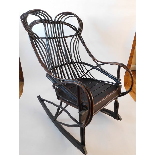 20th C. American Adirondack Twig Willow Rocking Chair For Sale - Image 13 of 13