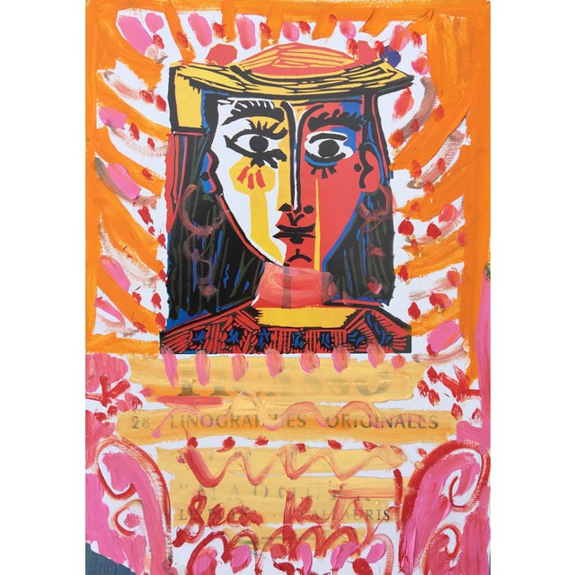 Abstract Framed Picasso Poster Oil Painting by Sean Kratzert 'Pink Lady' For Sale - Image 3 of 3