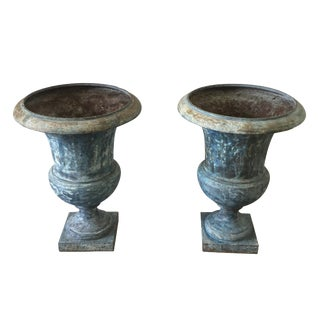 Iron Garden Urns - A Pair For Sale