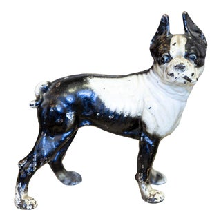 Antique Iron Boston Terrier Door Stop For Sale