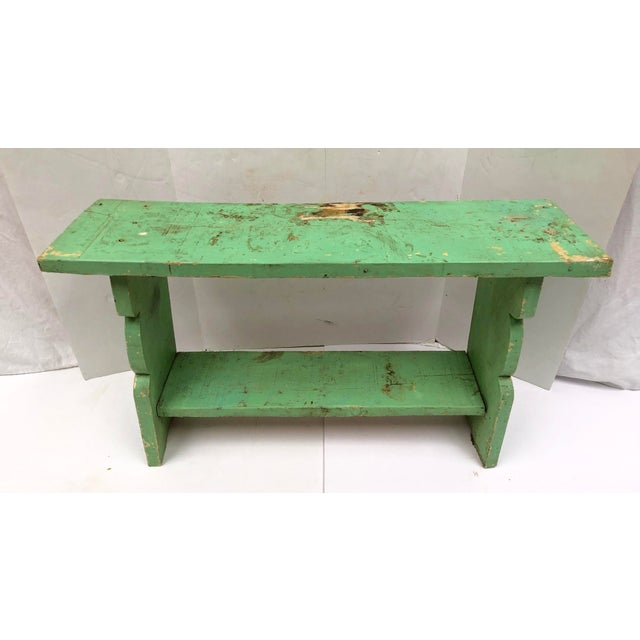 Late 19th Century 1800s French Country Farmhouse Painted Bucket Bench For Sale - Image 5 of 12