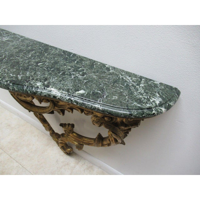 Antique French Carved Marble Top Wall Shelf Console - Image 7 of 11