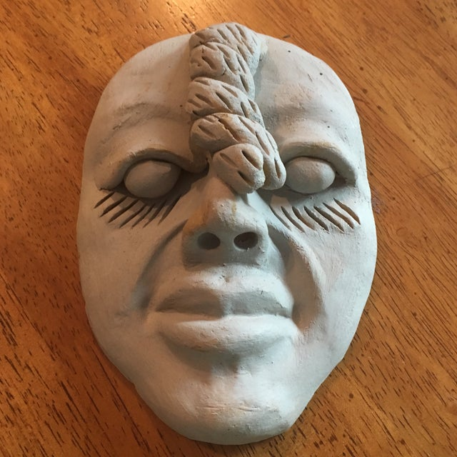 Clay Vintage Outsider Clay Art Human Face Sculpture For Sale - Image 7 of 7