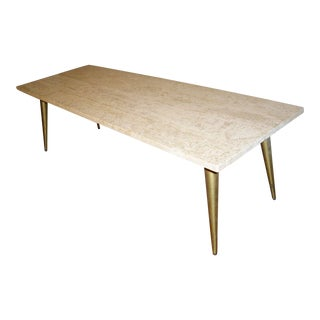 Vintage Mid-Century Modern Travertine Coffee Table For Sale
