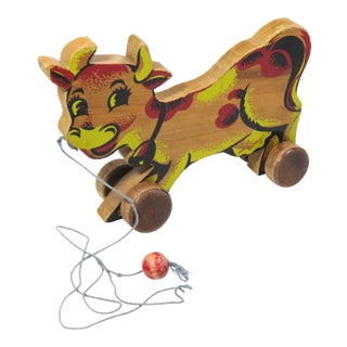1940s Vintage Elsie the Borden Dairy Cow Pull Toy For Sale