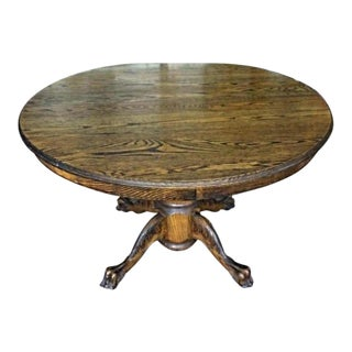 Early American Oak Claw Foot Dining Table For Sale