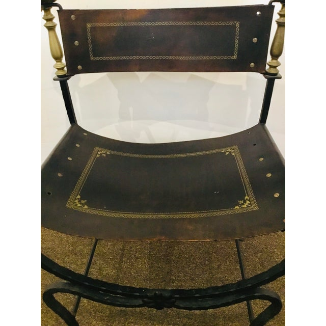 Early 20th Century Antique Iron and Leather Campaign Chair For Sale - Image 5 of 8