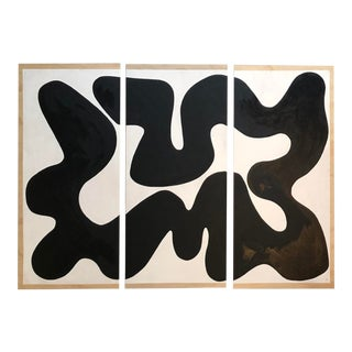 Oversized Black and White Winding Triptych Painting For Sale