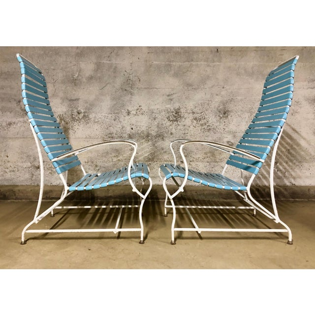1950s Pair of Mid Century Modern High Back Patio Lounge Chairs For Sale - Image 5 of 13
