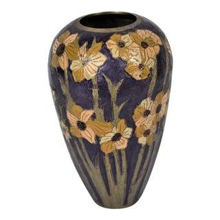 1970s Vintage Painted Floral Brass Vase For Sale