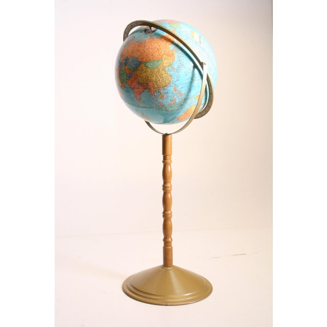 American Classical Vintage Revolving World Globe with Wood Pedestal Stand For Sale - Image 3 of 11