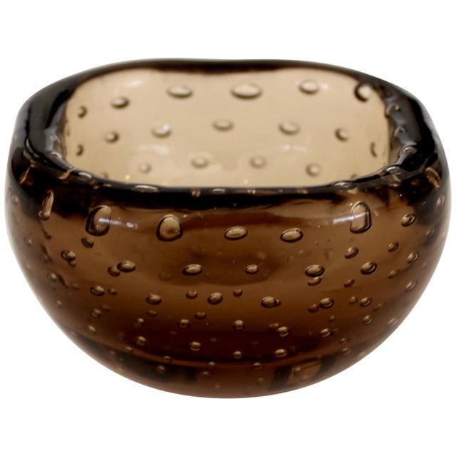 1950s Carlo Scarpa for Venini Murano Bulicante Small Bowl Amber Glass For Sale - Image 10 of 10