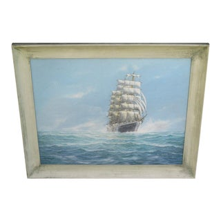 Vintage Nautical Oil Painting of Clipper Ship Signed b.j. Arnold For Sale