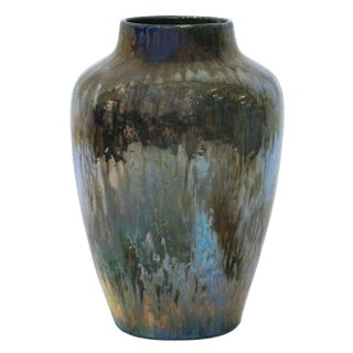 Large Art Deco Iridescent Blue/Green Drip Glaze Vase For Sale