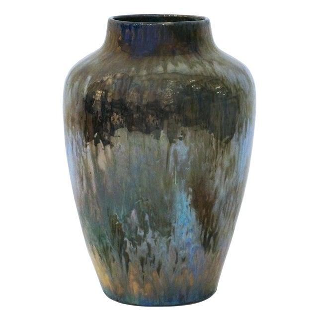 Large Art Deco Iridescent Blue/Green Drip Glaze Vase For Sale