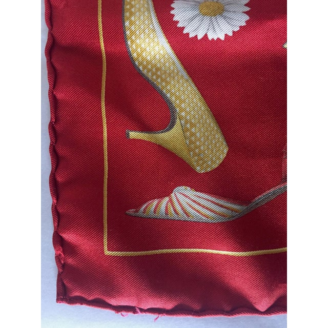 Red 1990s Small Red Silk Scarf or Pocket Square, Shoe Motif - Salvatore Ferragamo For Sale - Image 8 of 9