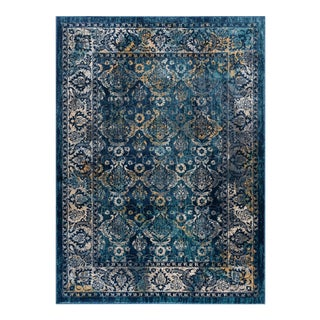 Journey Nicola Traditional Floral Navy Rectangle Area Rug - 5' x 8' For Sale