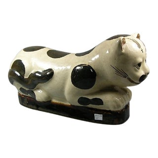 Antique Chinese Cizhou-Ware Ceramic 'Cat' Pillow For Sale