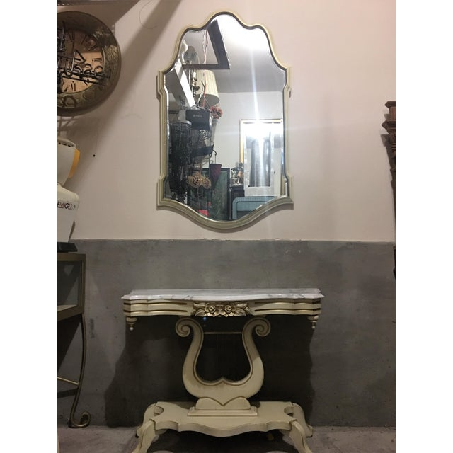 French Provincial Marble Top Lyre Based Hall Table For Sale - Image 5 of 5