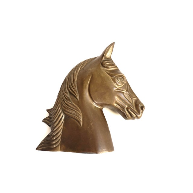 Metal Large Vintage Brass Horse Bust | Stallion Head Statue | Equestrian Décor | Western Chic Horse Sculpture | Equine Home Accent For Sale - Image 7 of 13