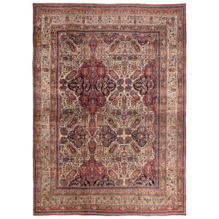 Antique Kerman Lavar Red and Brown Persian Floral Rug For Sale