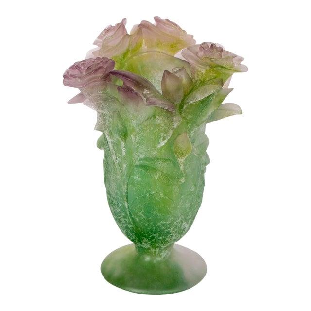 Exquisite Pate Verre Roses Vase by Daum For Sale
