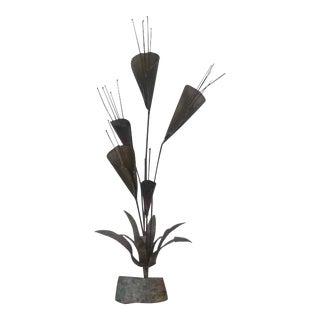 Mid Century Modern Metal Brutalist Flower Sculpture For Sale