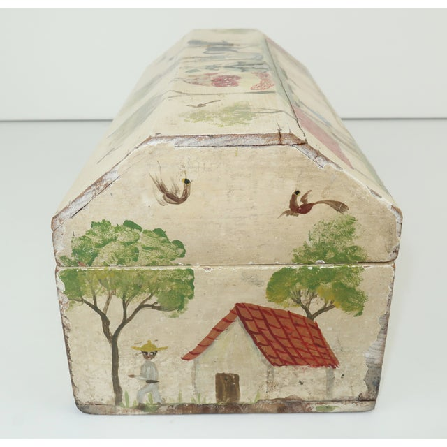 Antique White Salvador Corona Mexican Folk Art Wood Box, C.1940 For Sale - Image 8 of 13