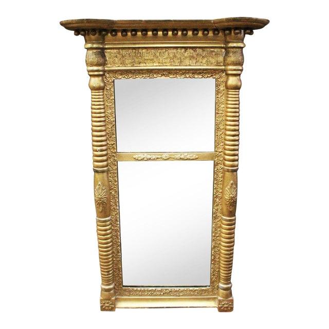 Art Nouveau Gold Two Section Mirror For Sale