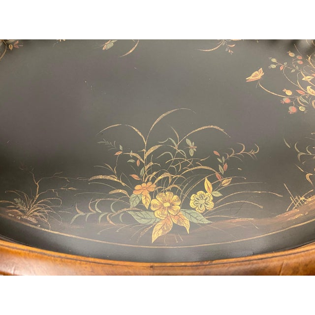 """Impressive large oval tray having handsome peripheral gallery and lovely painted floral decoration. Brass handles are 6""""..."""