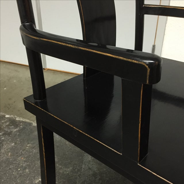 Black Solid Wood Lacquered Chairs - A Pair - Image 10 of 10