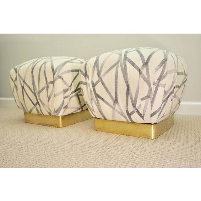 Regency Vintage Brass Base Marge Carson Poufs or Ottomans- a Pair For Sale - Image 3 of 8