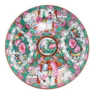 1970 Japanese China Ware Rose Medallion Style Porcelain Plate, Hand Decorated in Hong Kong For Sale