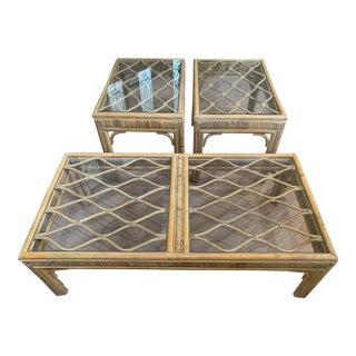 Stunning Vintage Chippendale Style Rattan Coffee and Side Table Set - 3 Pieces For Sale