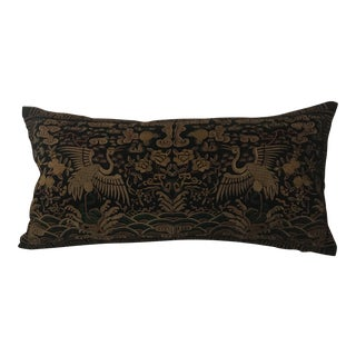 Hollywood Regency Black Gold Jade Silk Embroidered Chinoiserie Boudoir Pillow For Sale
