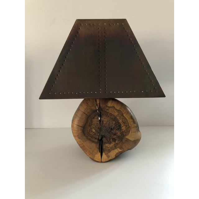 1970s Organic Burl Wood Lamp With Copper Shade For Sale - Image 11 of 11