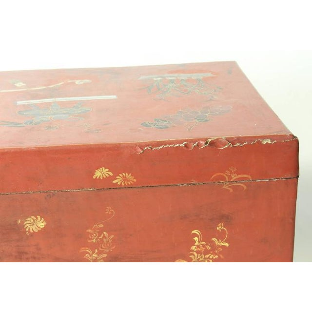 Wood Hand-Painted Chinese Trunk on Stand For Sale - Image 7 of 8