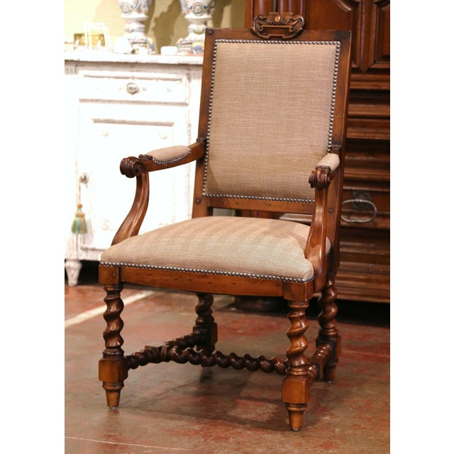 Suite of Twelve Carved Walnut Chairs From Ralph Lauren With Chenille and Leather For Sale In Dallas - Image 6 of 13