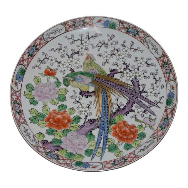 Antique Chinese Porcelain Hand Painted Platter W/ Peacocks For Sale