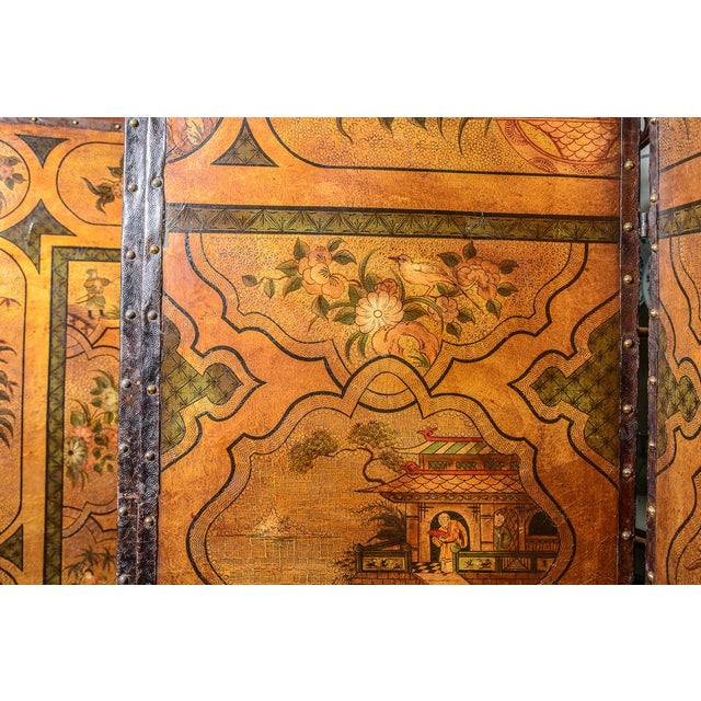 19th century painted leather, four panel room screen with nail head trim. C. 1880s.