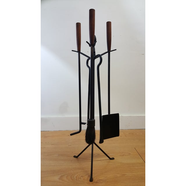Mid-Century Modern C. 1951 George Nelson Fireplace Tools, Screen & Log Holder- Set of 3 For Sale - Image 3 of 6