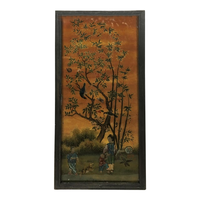 Chinese Scroll Painting Panel in Original Frame For Sale